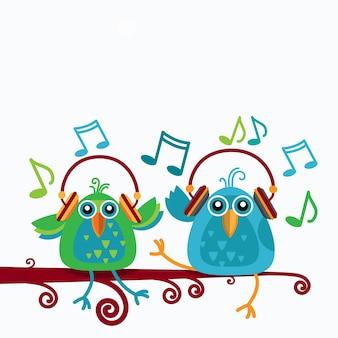 Oiseaux assis sur une branche écouter de la musique porter un casque notes