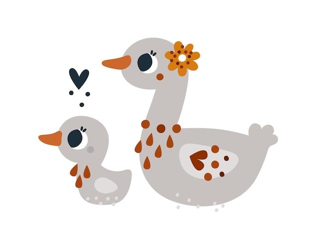 Oiseaux de canard mignons avec ornement floral imprimé enfantin isolé avec des canards pour carte de vêtements de pépinière