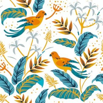 Oiseaux dans le motif nature