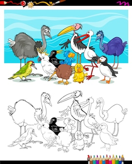 Oiseaux de dessin animé à colorier