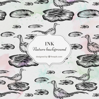 Oiseaux dessinés à la main et le motif de la nature