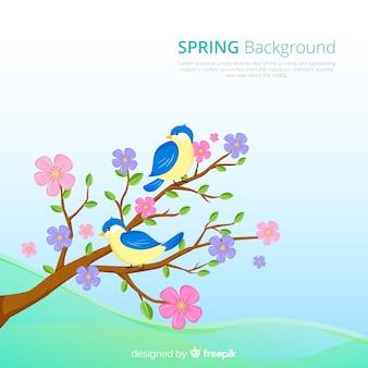 Oiseaux dessinés à la main printemps fond