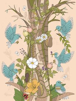 Oiseaux avec des éléments floraux coloriage adulte