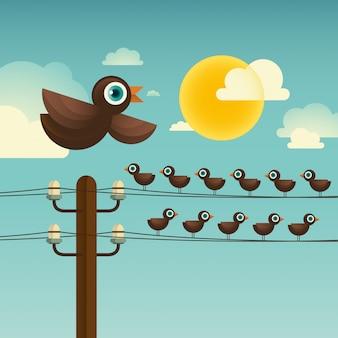 Oiseaux sur le fil