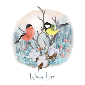 Oiseaux d'hiver sur une branche