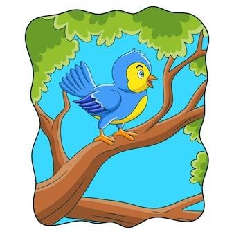 Oiseaux d'illustration de dessin animé gazouillant dans les arbres