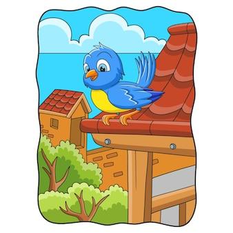 Oiseaux d'illustration de dessin animé gazouillant sur le toit de la maison