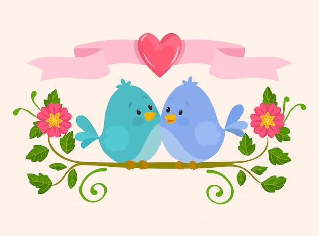 Oiseaux mignons amoureux