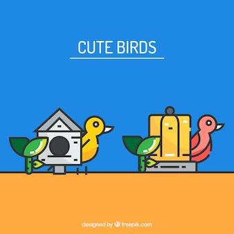 Oiseaux mignons cage vecteur