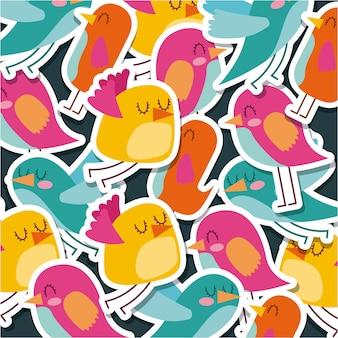 Oiseaux mignons dessin animé motif animal
