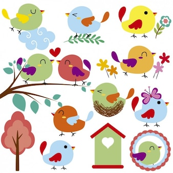 Oiseaux mignons et gaité