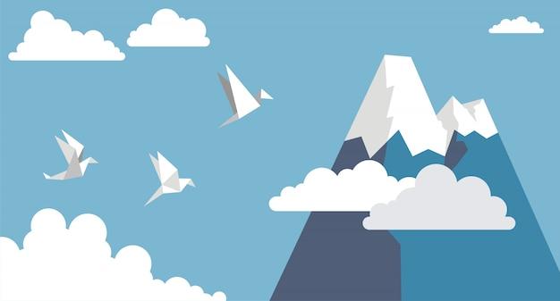 Oiseaux en papier origami, montagne et nuage sur ciel bleu, style plat