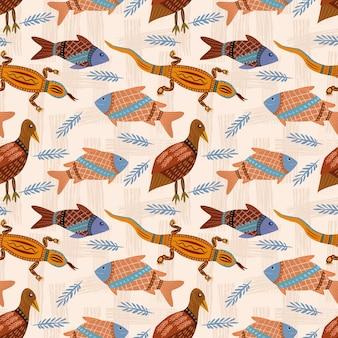 Oiseaux pêchent et lézards dans le modèle sans couture de style ancien.