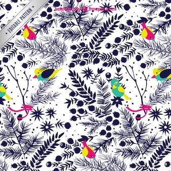 Les oiseaux et les plantes motif