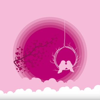 Oiseaux s'embrassant avec la conception de la branche et des nuages de la passion de l'amour et du thème romantique illustration vectorielle