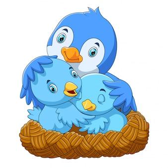 Oiseaux avec ses deux bébés dans le nid