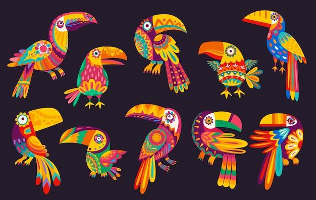 Oiseaux toucan mexicain de dessin animé