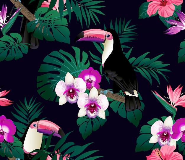 Oiseaux tropicaux et feuilles de palmiers