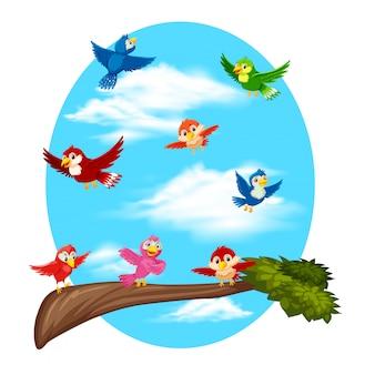Oiseaux volant sur ciel