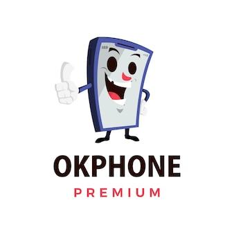 Ok téléphone thump up mascotte caractère logo icône illustration