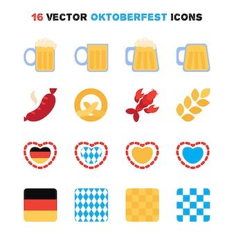 Oktoberfest 16 icons set
