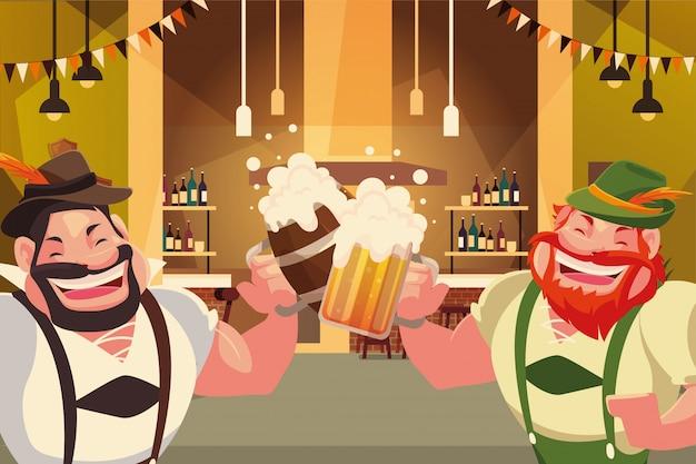 Oktoberfest allemagne conception de vecteur d'hommes