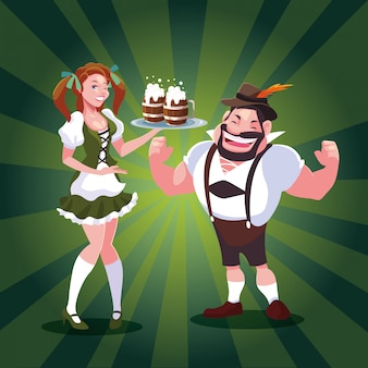 Oktoberfest allemagne homme et femme vector design