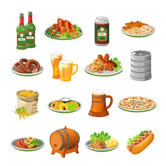Oktoberfest beer food flat icons set