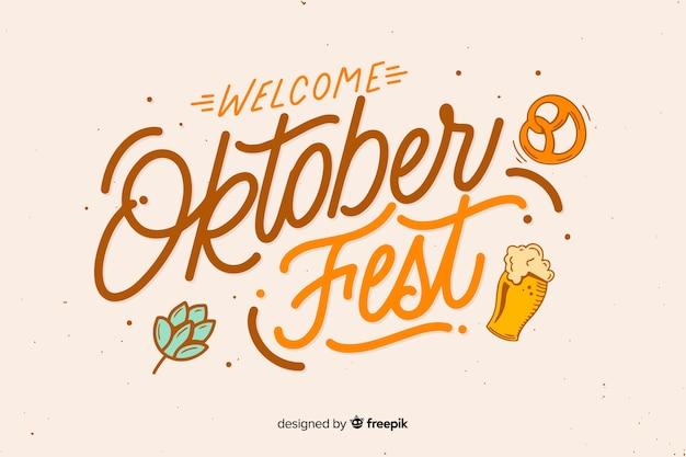 Oktoberfest bienvenue en design plat