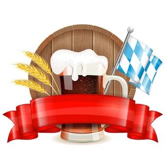 Oktoberfest avec bière et ruban