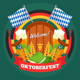 Oktoberfest dessiné à la main avec de la bière et des drapeaux