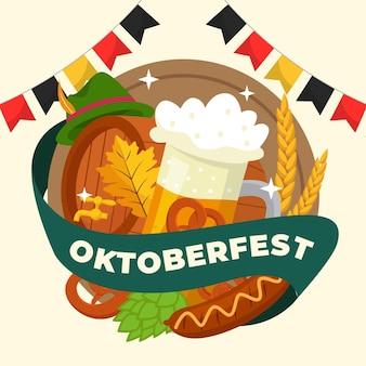 Oktoberfest dessiné à la main avec de la bière