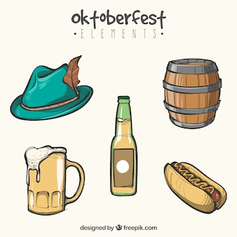 Oktoberfest, éléments d'événements dessinés à la main