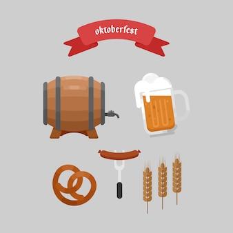 Oktoberfest elements illustration plat