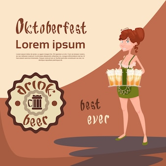 Oktoberfest festival fille serveuse tasse verres mug à bière