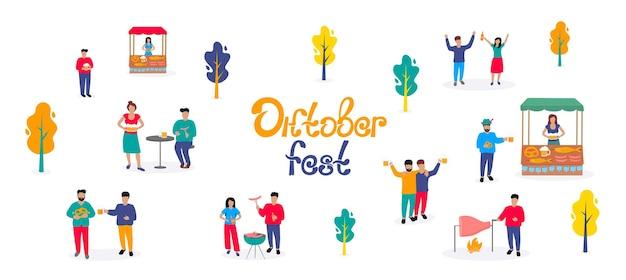 Oktoberfest - fête de la bière allemande. de petits hommes et femmes prennent un verre et un barbecue. scène en plein air d'automne.