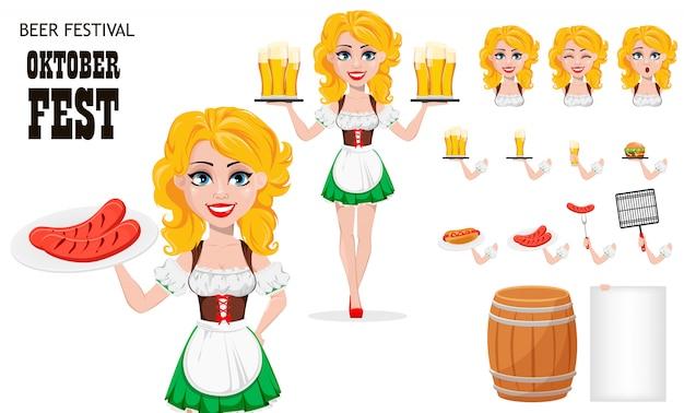 Oktoberfest, fête de la bière. fille rousse