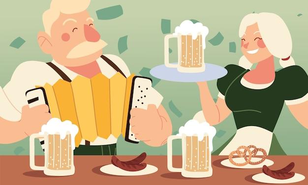 Oktoberfest homme et femme avec des saucisses à la bière et des bretzels design, thème du festival et de la célébration de l'allemagne