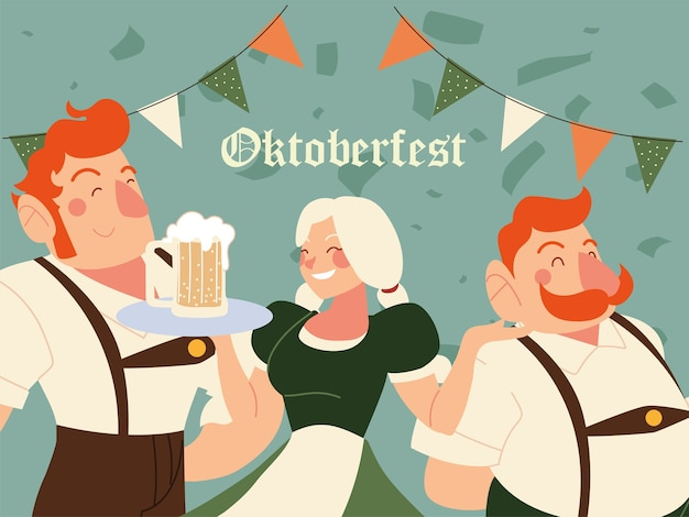 Oktoberfest hommes et femme avec illustration de bière en tissu traditionnel, thème du festival et de la célébration de l'allemagne