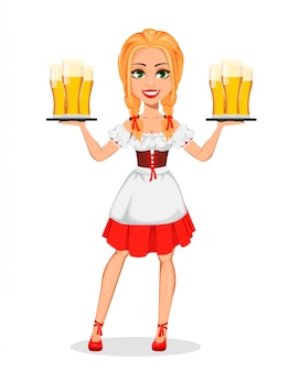 Oktoberfest. jeune fille en costume bavarois