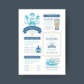 Oktoberfest menu modèle de typographie vintage festival de la bière célébration design illustration vectorielle.