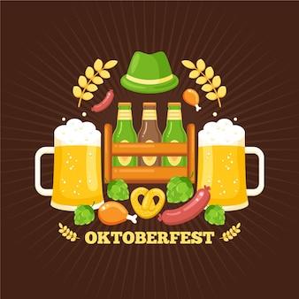 Oktoberfest avec pintes et chapeau