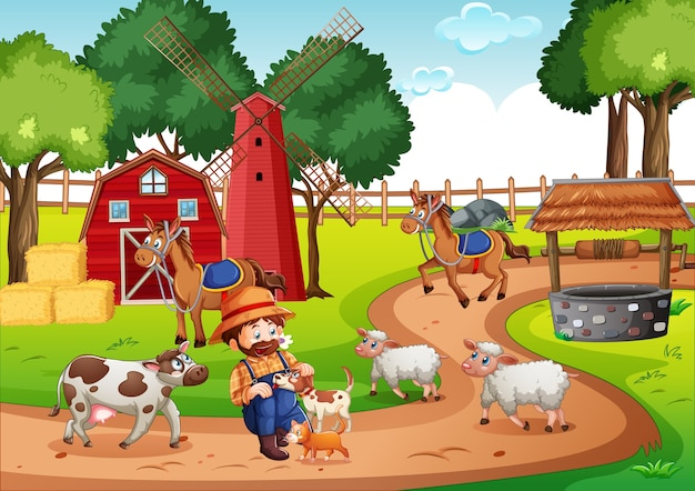Old macdonald dans une scène de comptines à la ferme