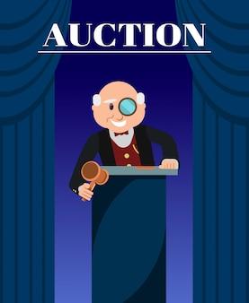 Old man auctioneer avec hammer entre les rideaux.