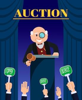 Old man auctioneer avec vente de marteau aux enchérisseurs.
