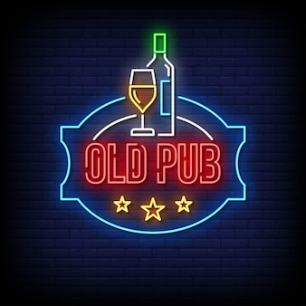 Old pub neon signs style text vector