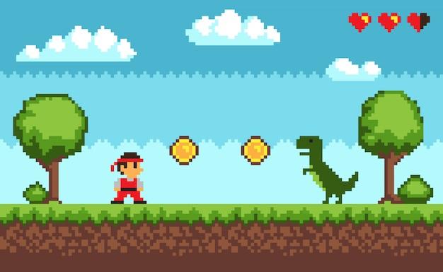 Old style pixel game sur illustration blue