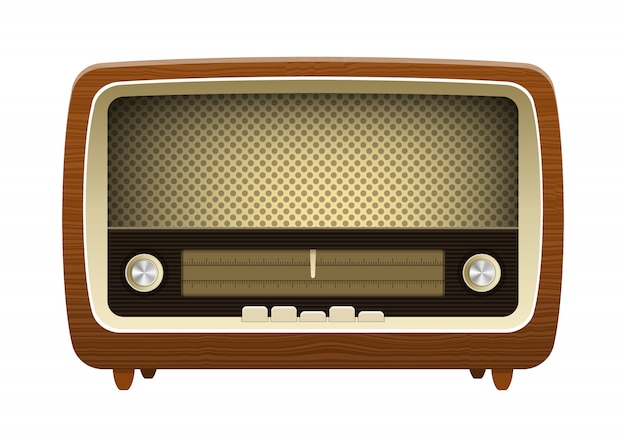Old vintage radio design illustration isolé sur fond blanc