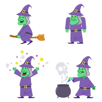 Old witch flat character collection ensemble