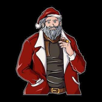 Oldman portant une illustration de costume de père noël